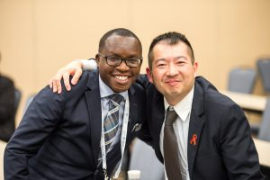 Global Fellow Levis Nderitu (Left) with Yiu-tung Suen at the 2017 Out & Equal Global Leadership Day.