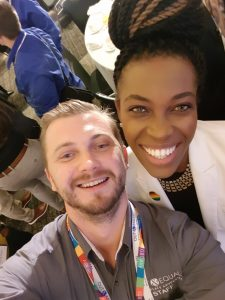 Global Fellow Kaspars Zalitis with Amber Hikes at the 2017 Workplace Summit.